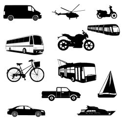 Means of Transport (Vocabulario de imágenes de medios de transporte en inglés)