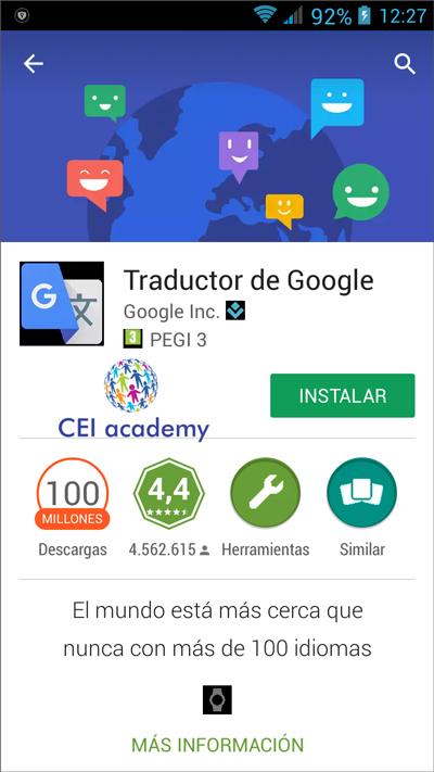 Traducir con el móvil gratis desde imagen, voz, etc. Ventana instalar